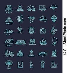 Un simple icono lineal Vector representando monumentos turísticos globales y destinos de viaje para vacaciones