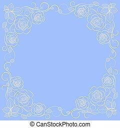 Un simple marco floral en blanco