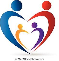 Un sindicato familiar de Logo en un corazón