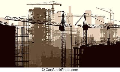 Un sitio de construcción con edificios.