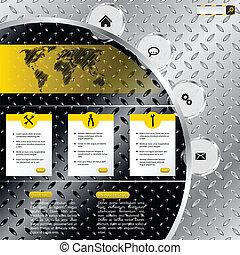 Un sitio web industrial con placas metálicas