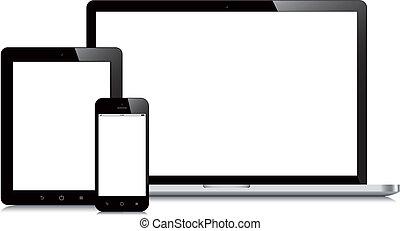 Un smartphone portátil y una maqueta de fondo blanco