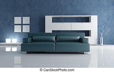 Un sofá azul marino y una estantería vacía