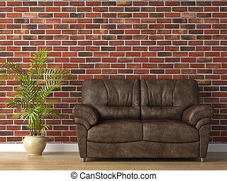 Un sofá de cuero en la pared