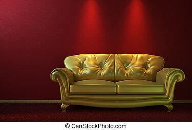 Un sofá dorado en rojo