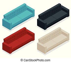 Un sofá isométrico. Rojo moderno, negro, blanco, sofá azul