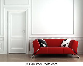 Un sofá rojo en la pared interior blanca