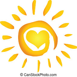 Un sol abstracto de verano con corazón
