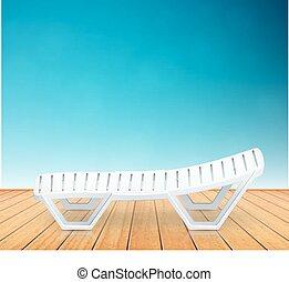 Un solo inventario de la playa de cubierta de plástico en el suelo de madera