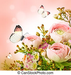 Un suave ramo de rosas y mariposas