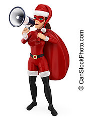 Un superhéroe de Navidad de 3D con un saco hablando en un megáfono