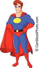 Un superhéroe masculino de dibujos animados posando