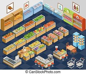 Un supermercado isométrico