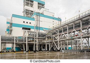 Un taller de gas químico en producción de polipropileno