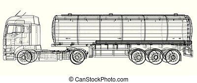 Un tanque de gasolina, un remolque petrolero, un camión en la autopista. Conducir muy rápido. Ilustración creada en 3D. Cables