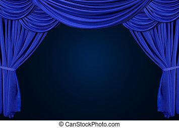 Un teatro antiguo y elegante con cortinas de terciopelo.