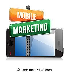 Un teléfono inteligente con señal de marketing móvil