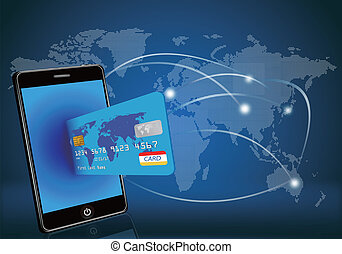Un teléfono inteligente con tarjeta de crédito en la mano