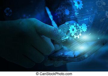 Un teléfono inteligente, digital, digital, medios de comunicación