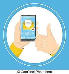 Un teléfono móvil de mano con un correo de confirmación