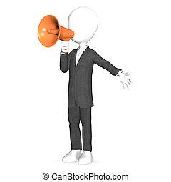 Un tercer grito humano con un megáfono naranja