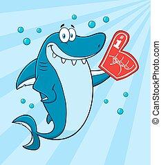 Un tiburón azul sonriente con antecedentes