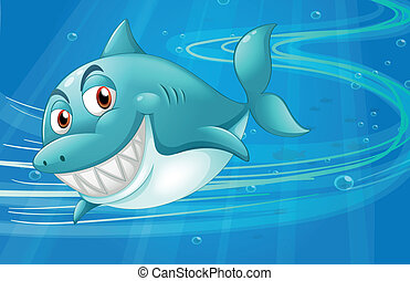 Un tiburón bajo el mar