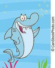 Un tiburón feliz agitando ilustraciones