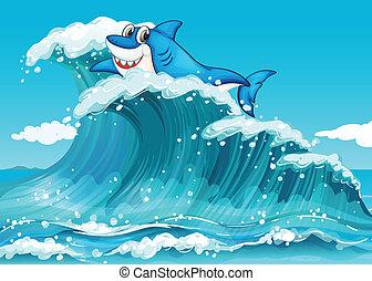 Un tiburón sobre las grandes olas