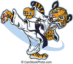 Un tigre artista marcial pateando