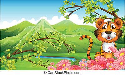 Un tigre cerca de las flores cruzando las montañas