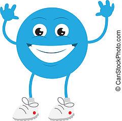 Un tipo azul sonriendo