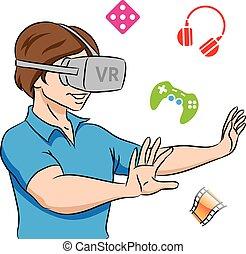 Un tipo con auriculares de realidad virtual