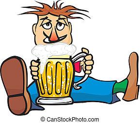 Un tipo con una jarra de cerveza