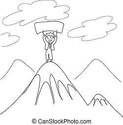 Un tipo en la cima del monte