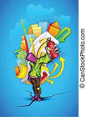Un tipo genial con grafitti urbano
