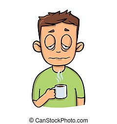 Un tipo gracioso con una taza de café matutino. Icono de diseño de dibujos animados. Ilustración vectorial plana. Aislado de fondo blanco.