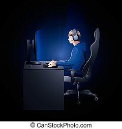 Un tipo jugando con la computadora
