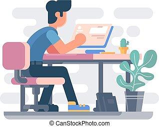 Un tipo que trabaja en la computadora