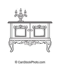 Un tocador barroco grabado. Vector intrincado estructura ornamentada. Decoración estilo real victoriano