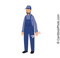 Un trabajador mecánico con una llave inglesa. Ilustración vectorial plana. Aislado de fondo blanco.