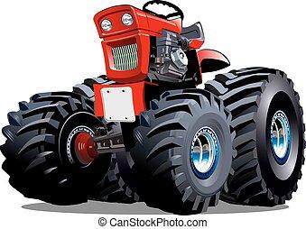 Un tractor de dibujos animados