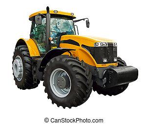 Un tractor de granja amarillo