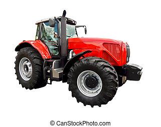 Un tractor de granja rojo
