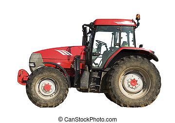 Un tractor rojo aislado