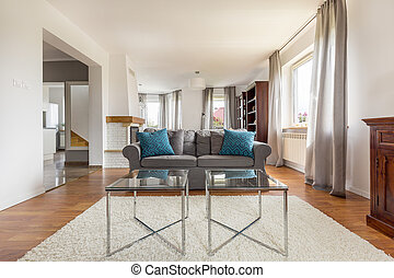 Un trago de salón con estilo con sofá cómodo