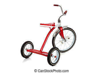 Un triciclo rojo sobre blanco