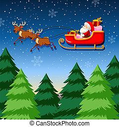 Un trineo de Santa montando