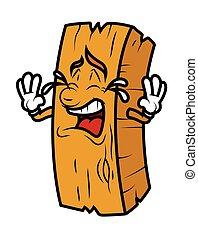 Un tronco de madera de cartón llorando