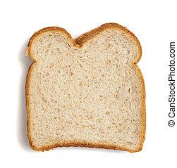 Un trozo de pan de trigo en un fondo blanco